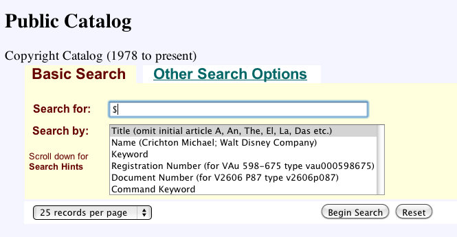US Copyright Office Public Catalog