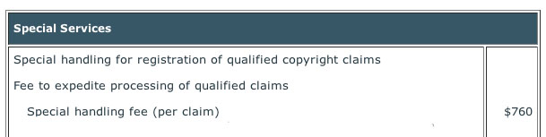 Rush filing for a copyright registration costs $760.